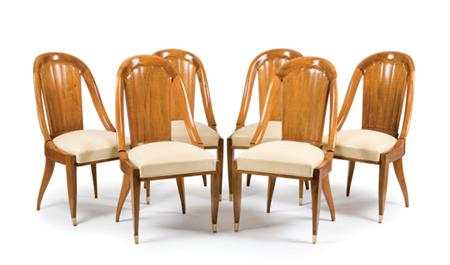 Lot image - EMILE-JACQUES RUHLMANN French, 1879-1933 Six Dining Chairs, circa 1925