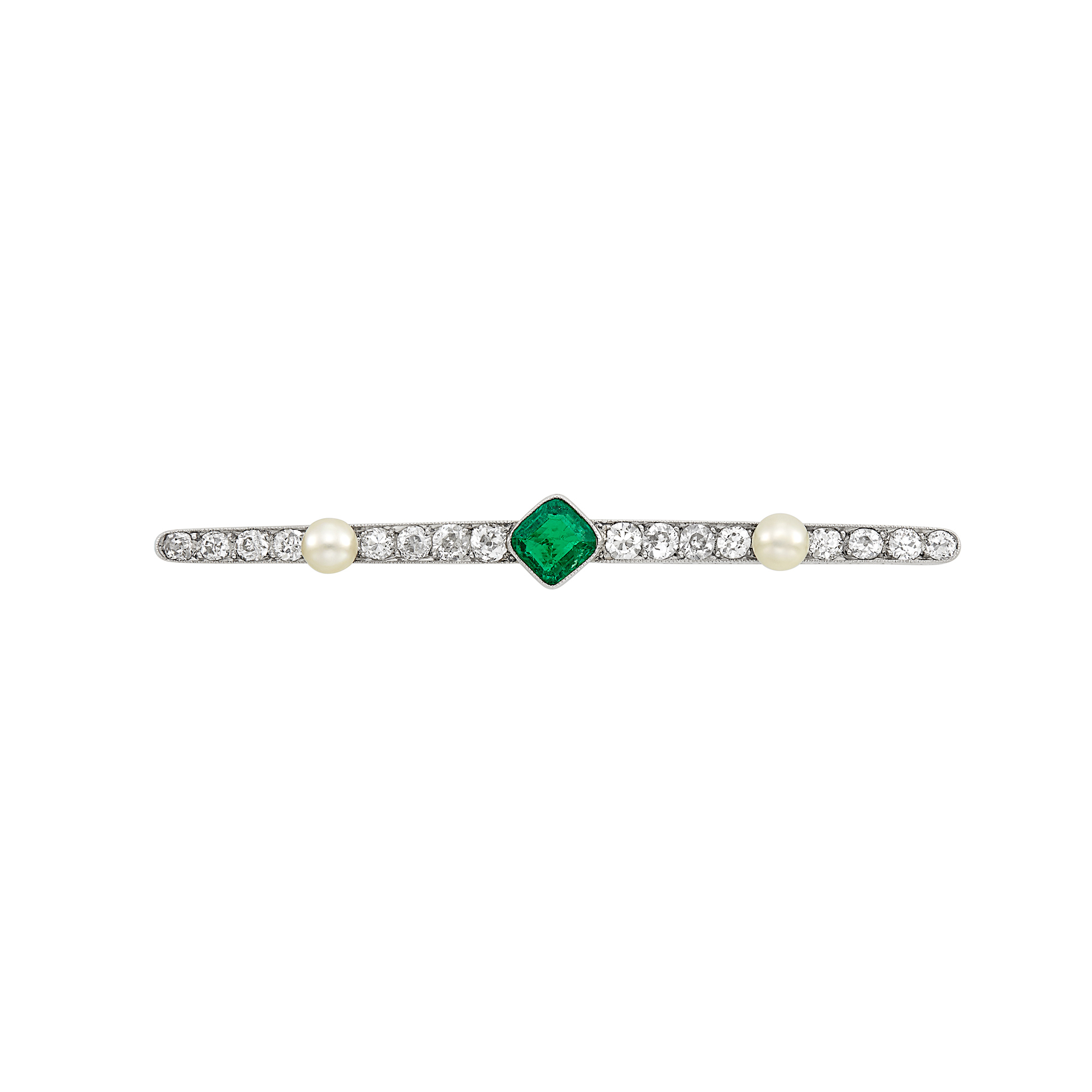 Lot image - Platinum, Emerald, Diamond and Button Pearl Bar Pin