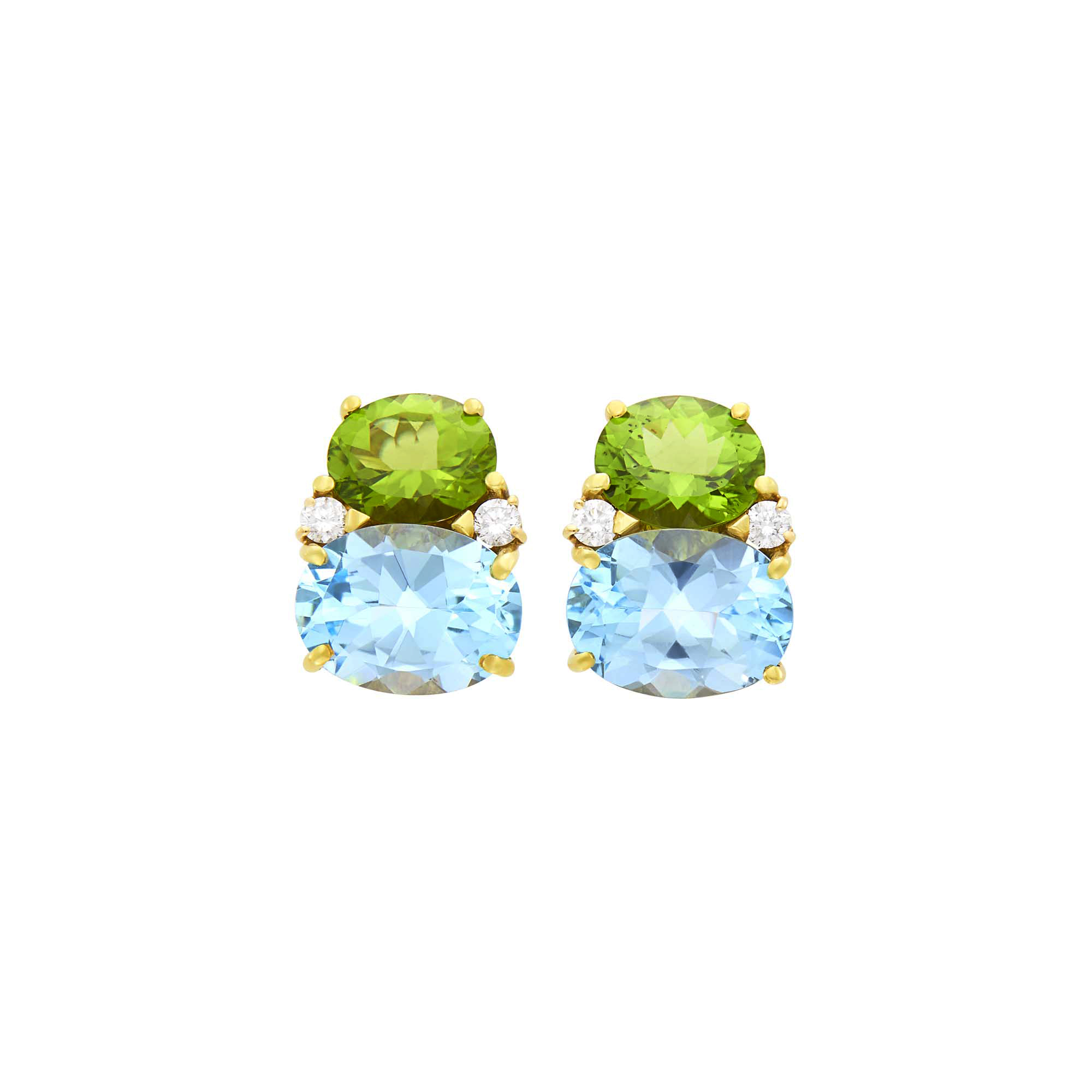 Lot image - Pair of Gold, Peridot, Blue Topaz and Diamond Earclips
