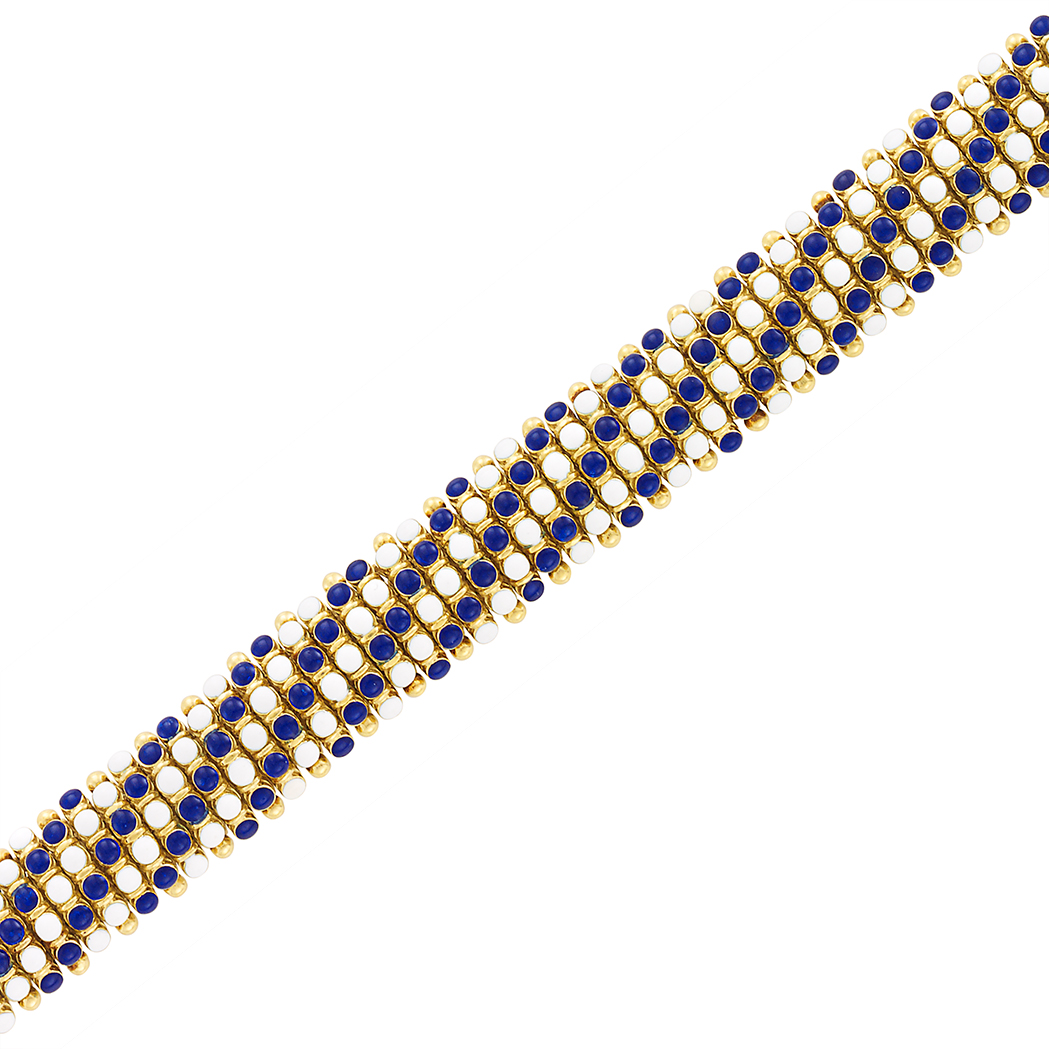Lot image - Gold and White and Blue Enamel Bracelet, Cartier