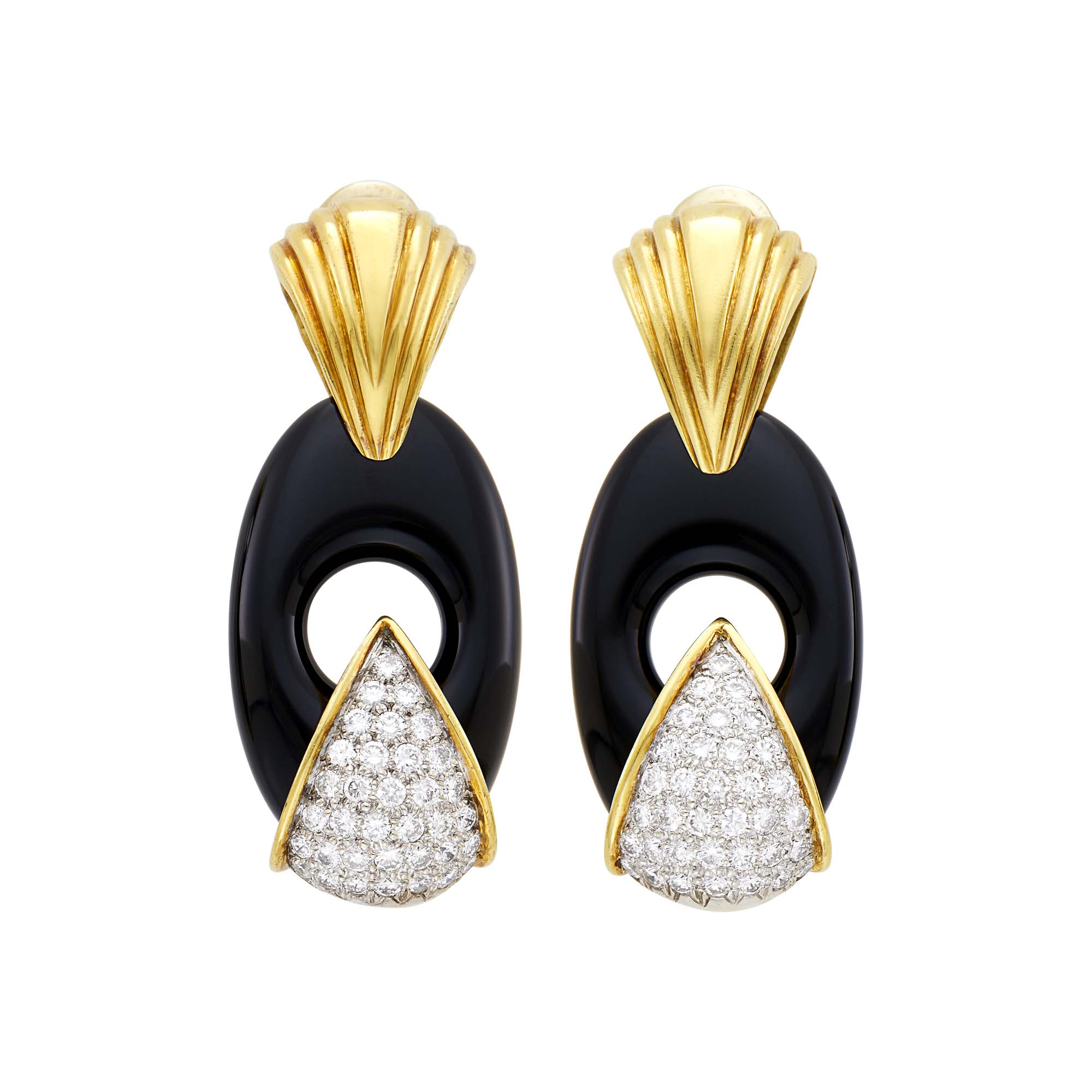 Lot image - Spritzer and Fuhrmann Pair of Two-Color Gold, Black Onyx and Diamond Earclips