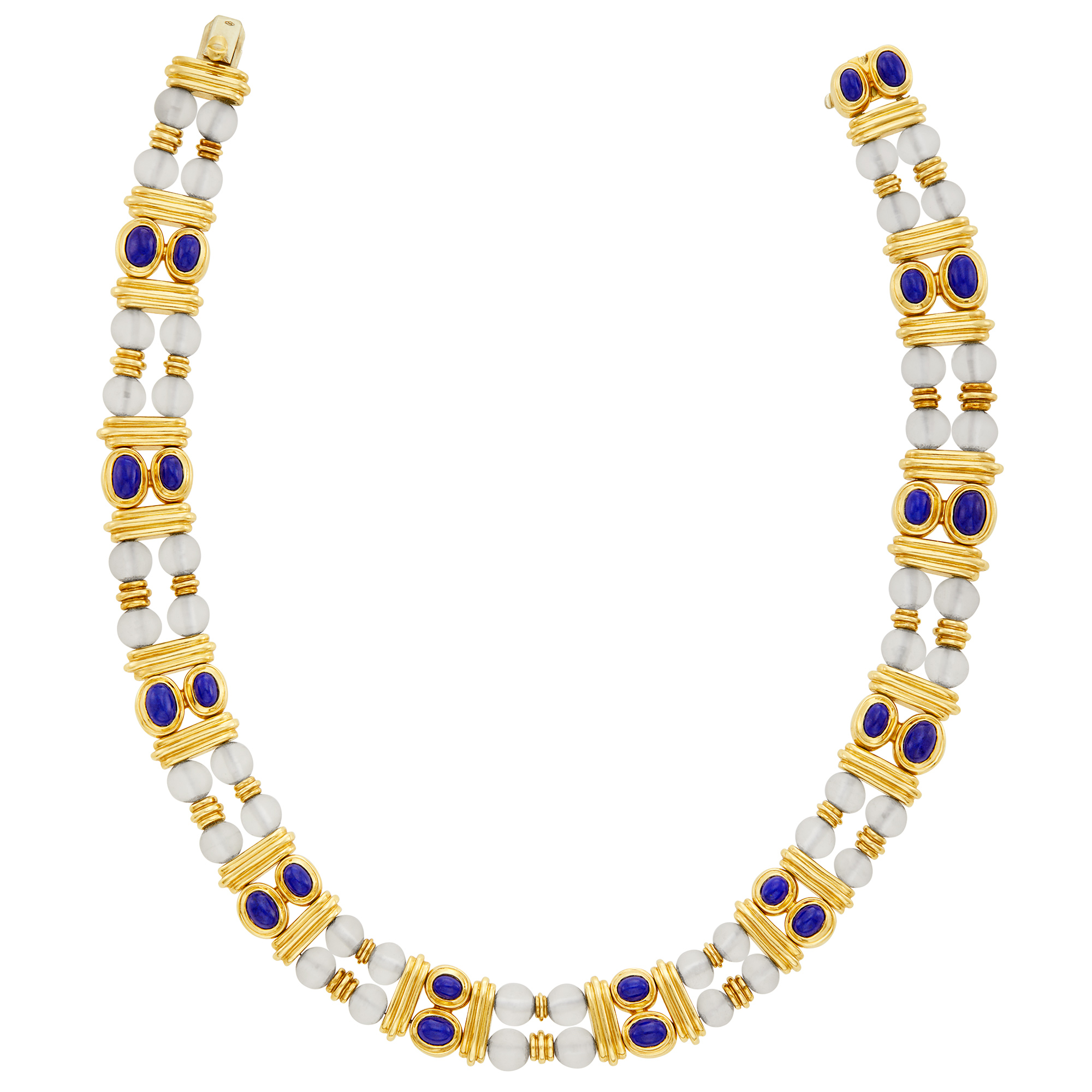 Lot image - Double Strand Gold, Frosted Rock Crystal Bead and Lapis Necklace, Boucheron, France
