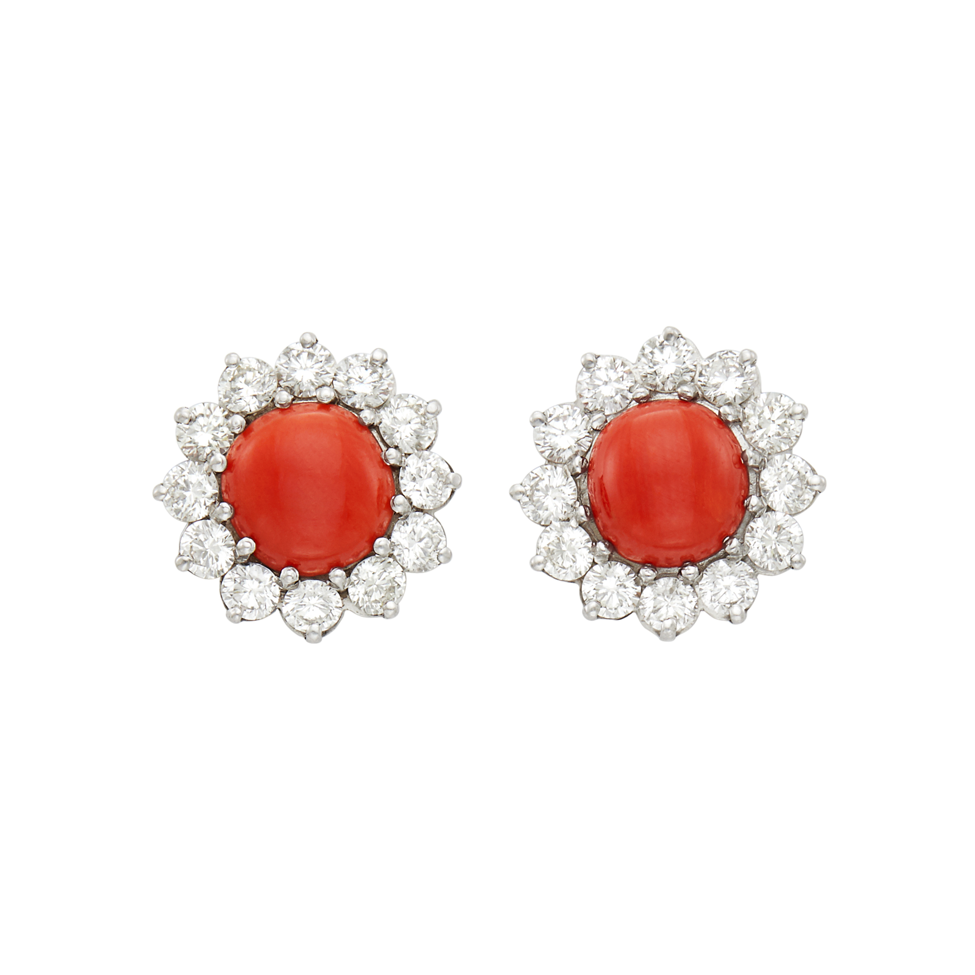 Lot image - Pair of Platinum, Coral and Diamond Earrings