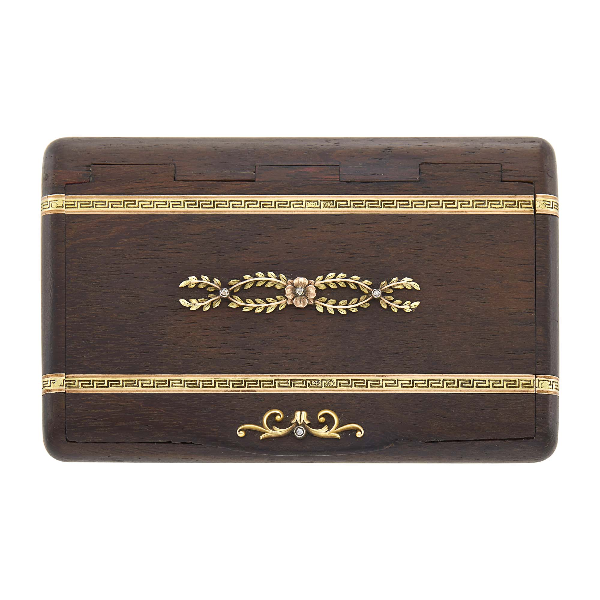 Lot image - Fabergé Jeweled Two-Color Gold-Mounted Wood Cigarette Case
