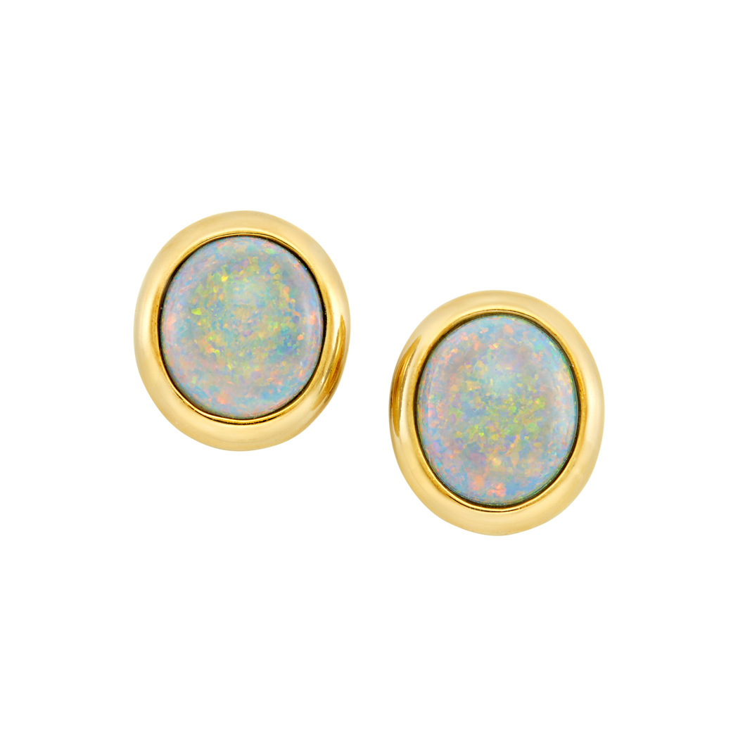 Lot image - Pair of Gold and Opal Earclips, Tiffany & Co.