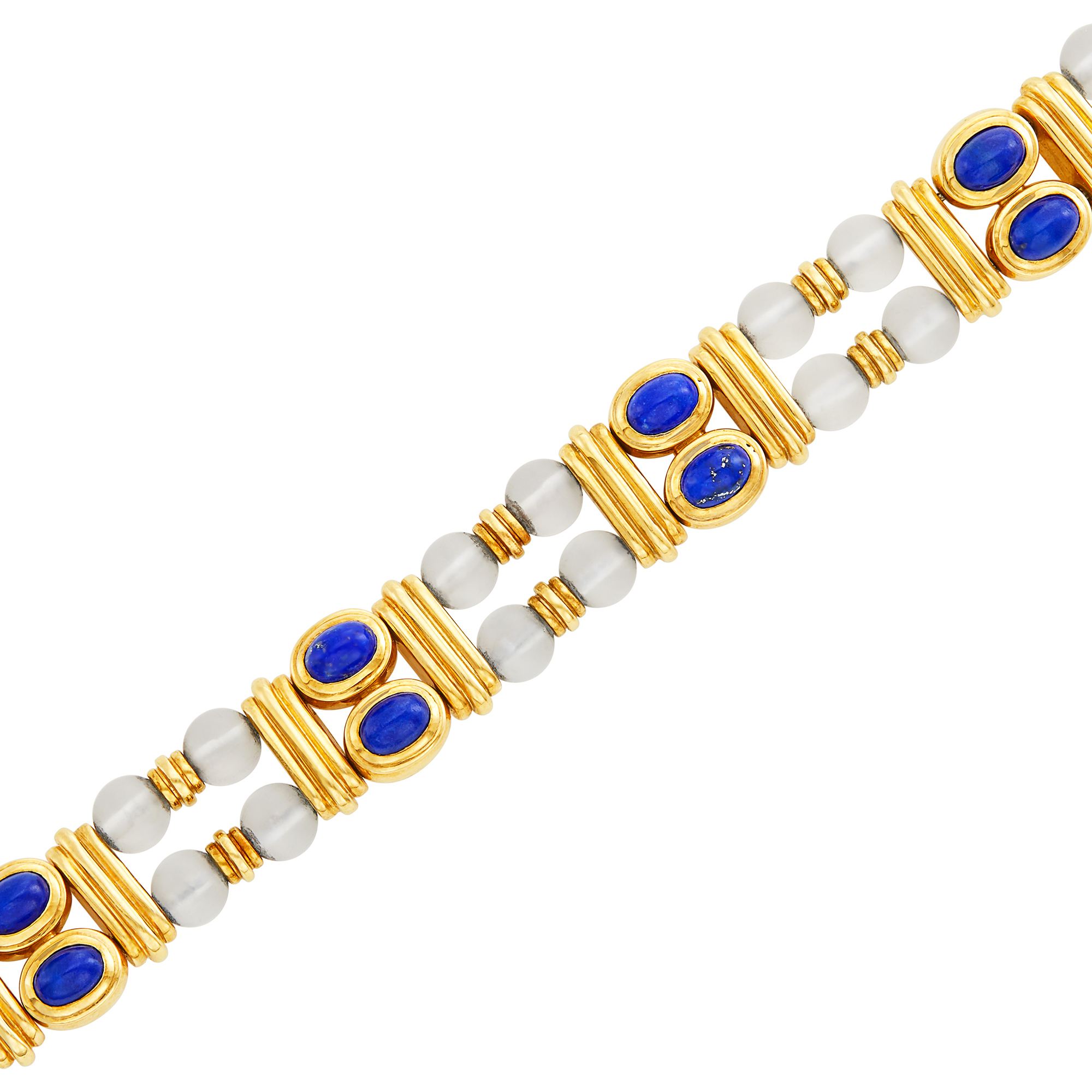 Lot image - Double Strand Gold, Frosted Rock Crystal Bead and Lapis Bracelet, Boucheron, France