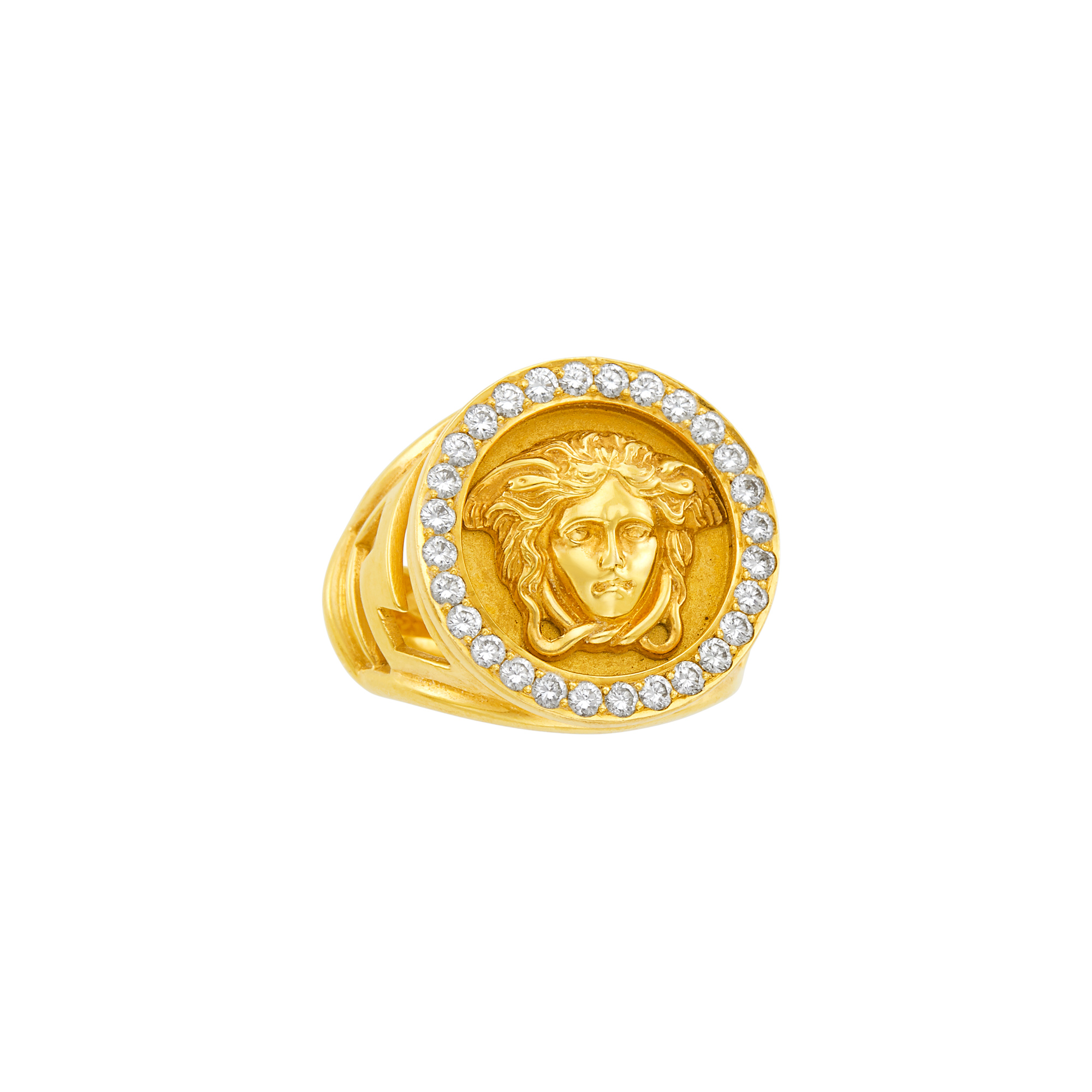 Lot image - Gold and Diamond Medusa Ring, Gianni Versace