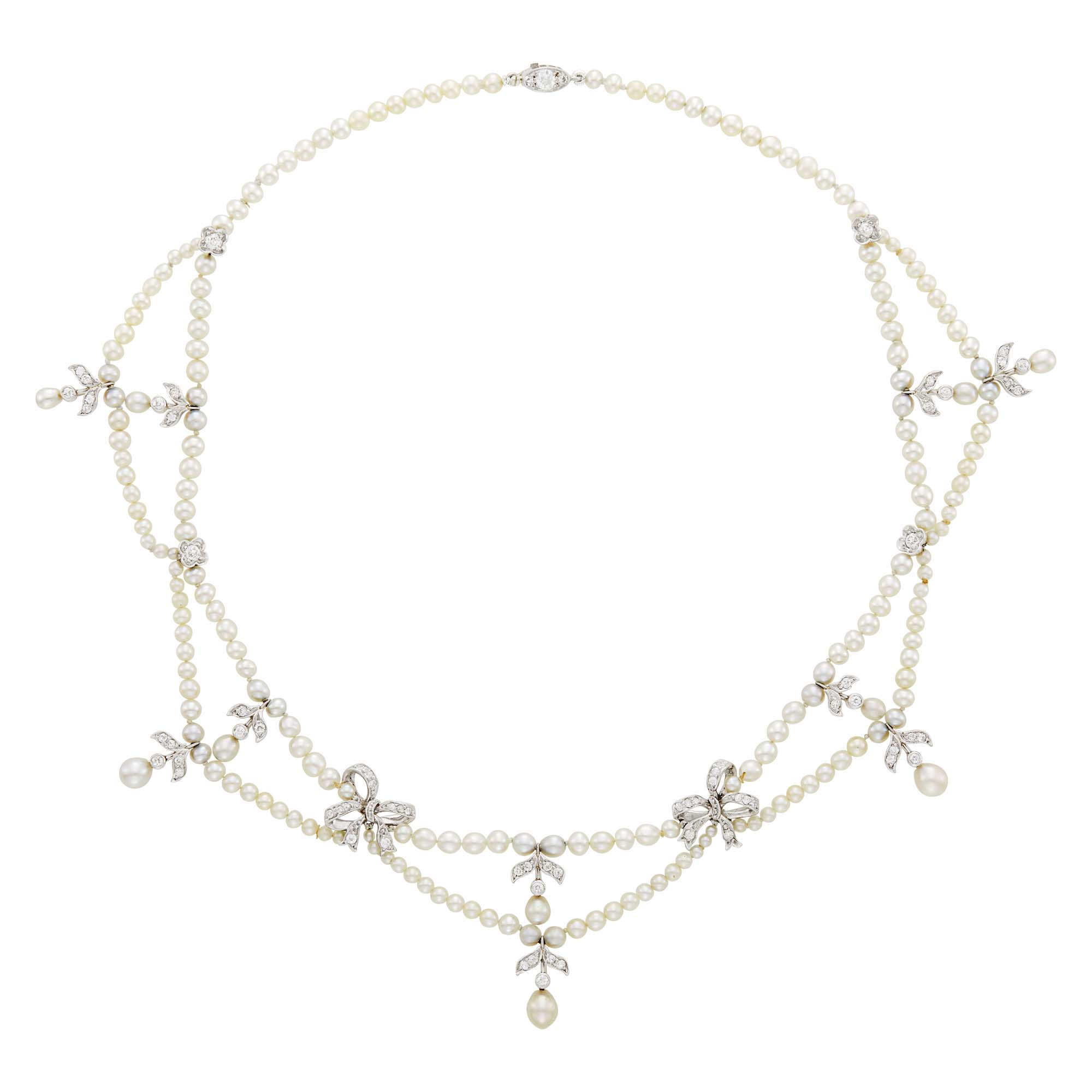Lot image - Tiffany & Co. Platinum, Gold, Natural Pearl and Diamond Swag Necklace