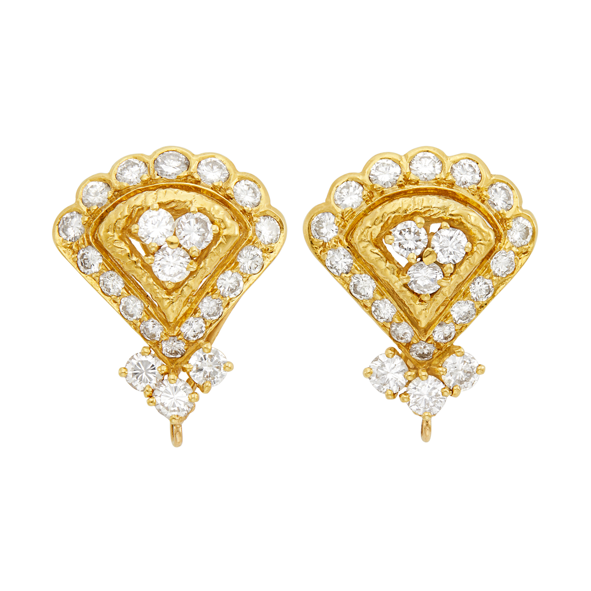 Lot image - Pair of Gold and Diamond Earclips