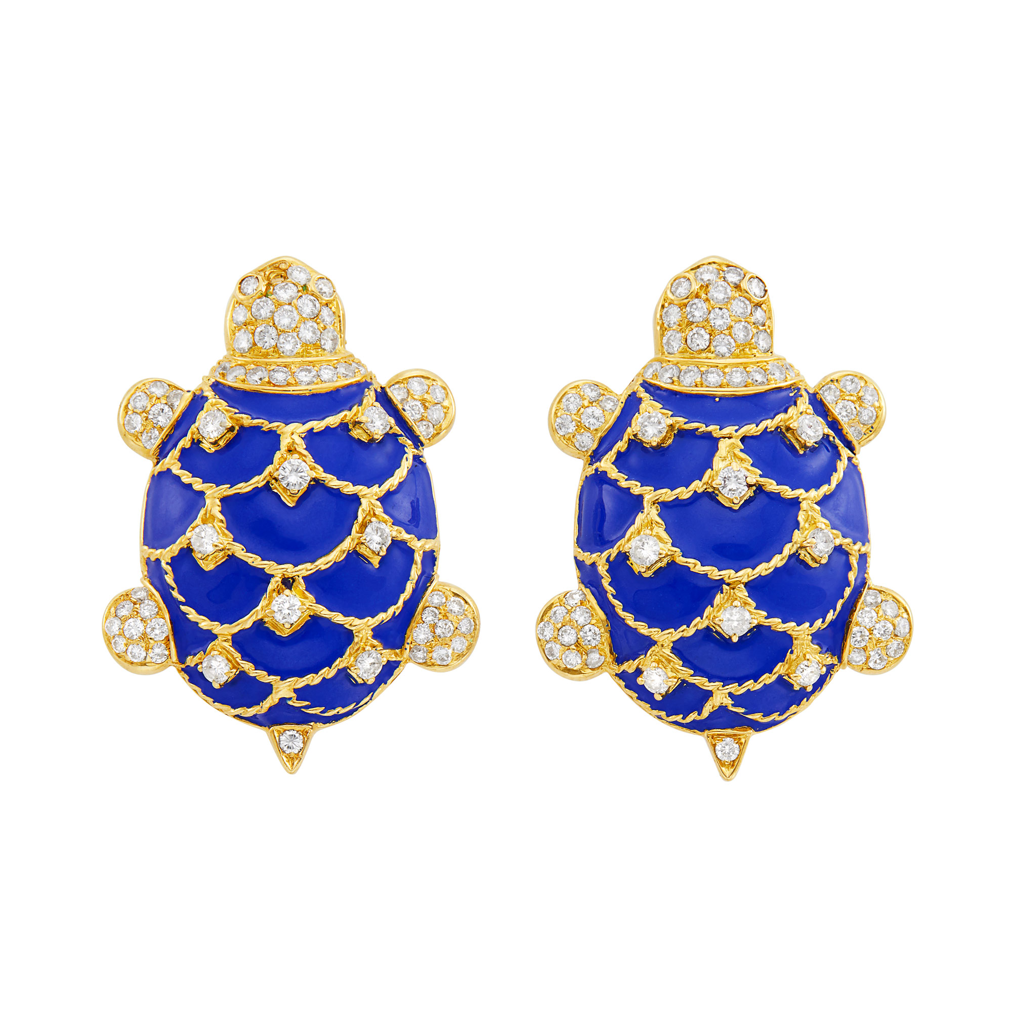Lot image - Pair of Gold, Blue Enamel and Diamond Turtle Cufflinks