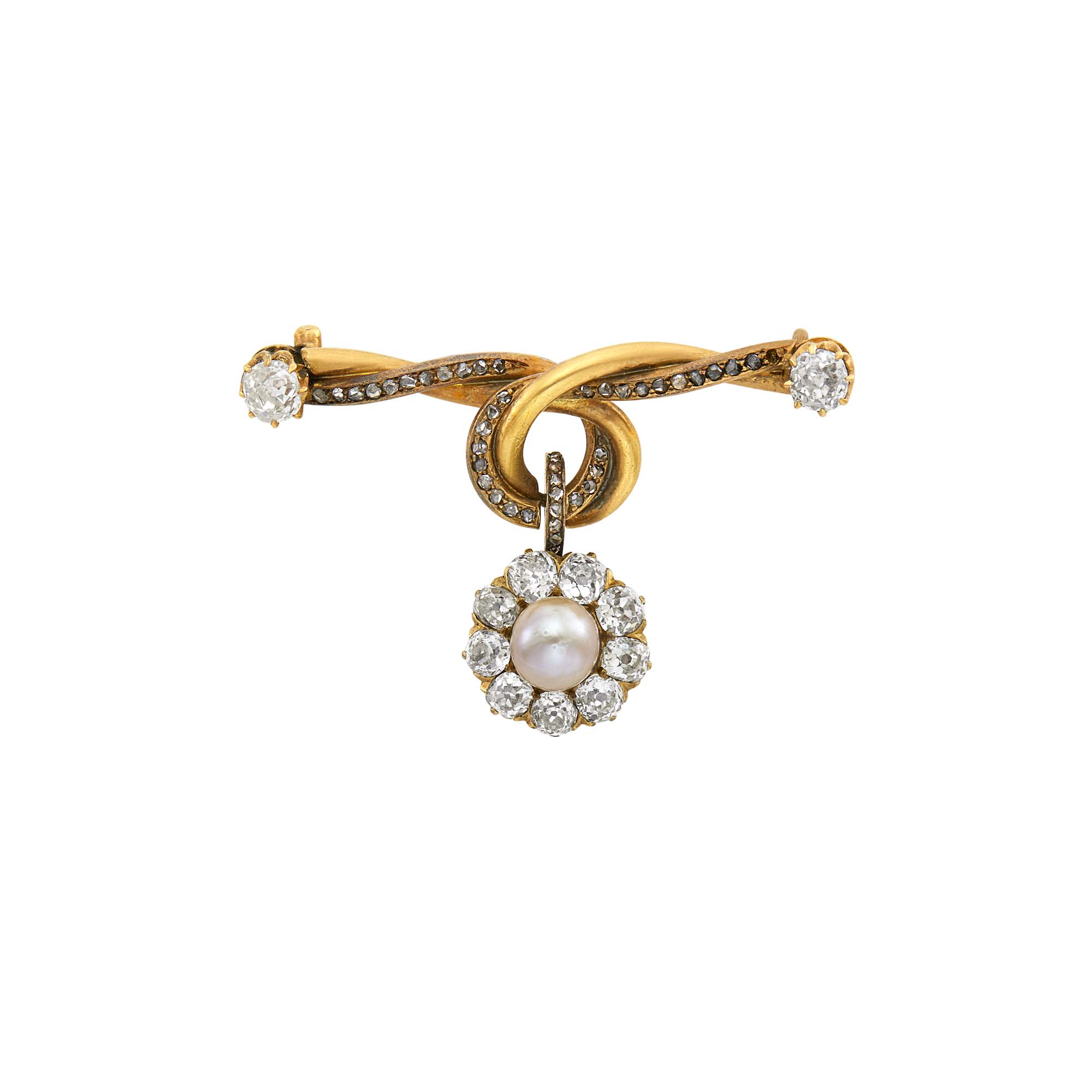 Lot image - Russian Diamond, Pearl and Gold Pendant Brooch
