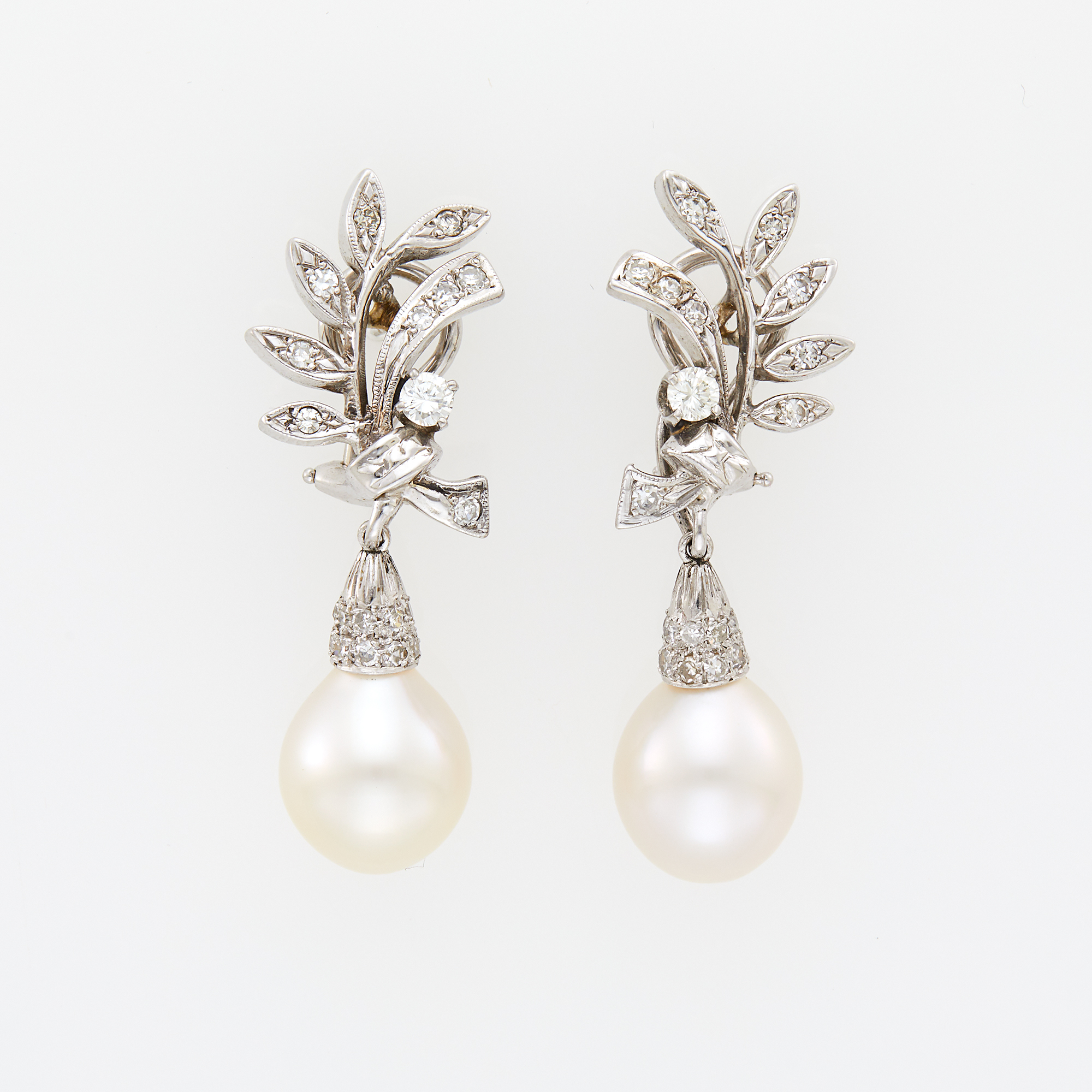 Lot image - Pair of White Gold, Cultured Pearl and Diamond Pendant-Earrings