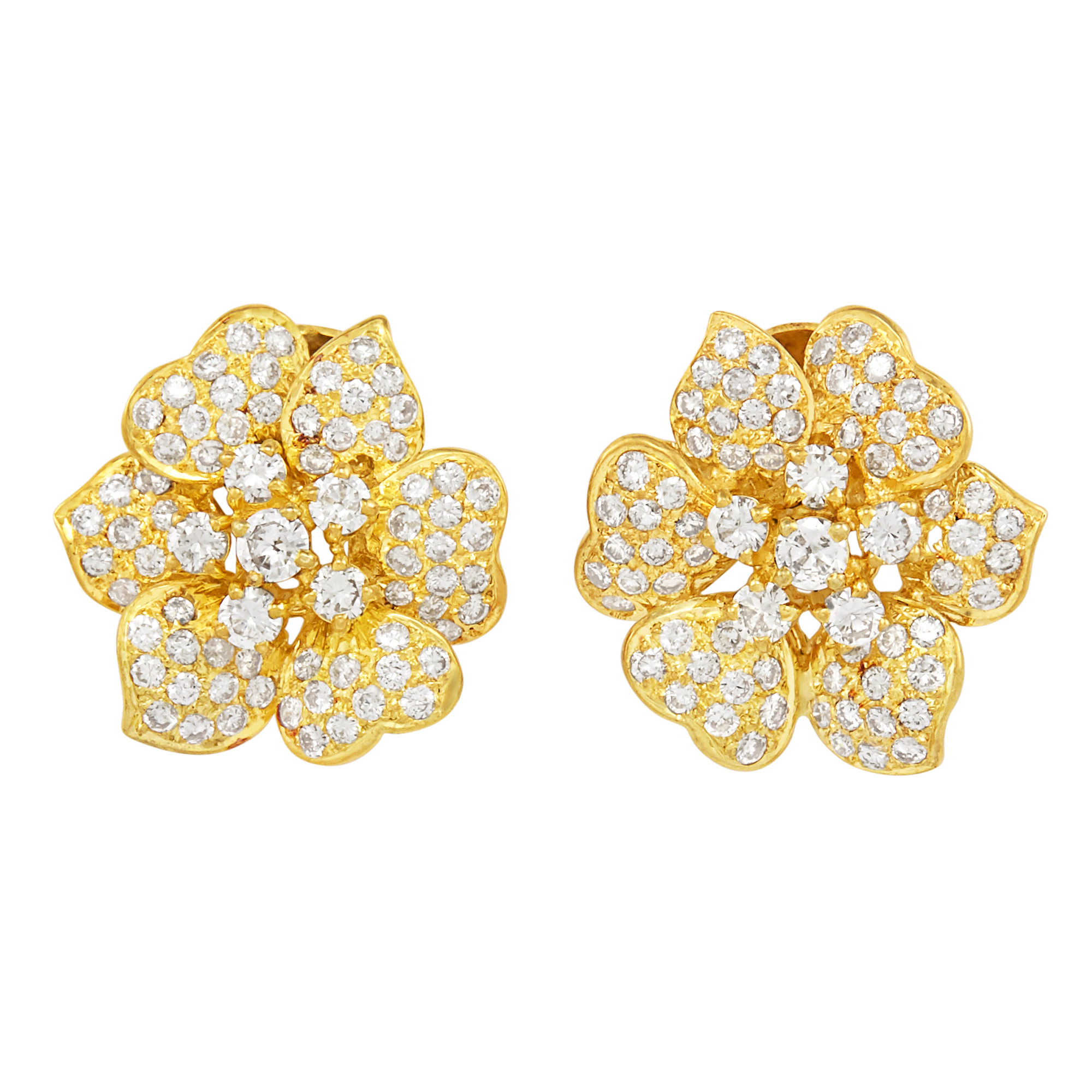 Lot image - Pair of Gold and Diamond Flower Earclips
