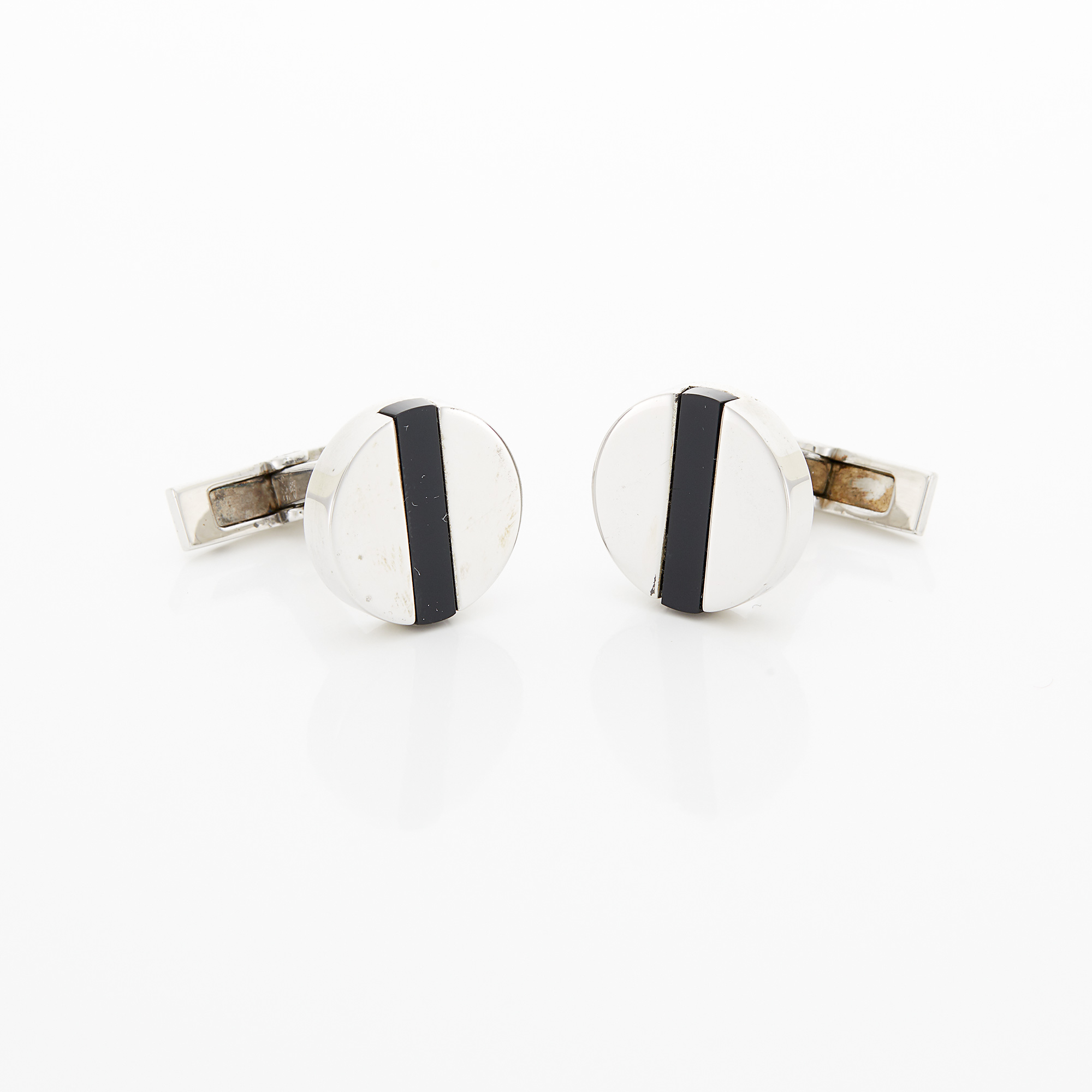 Lot image - Pair of Silver and Black Onyx Cufflinks, Cartier