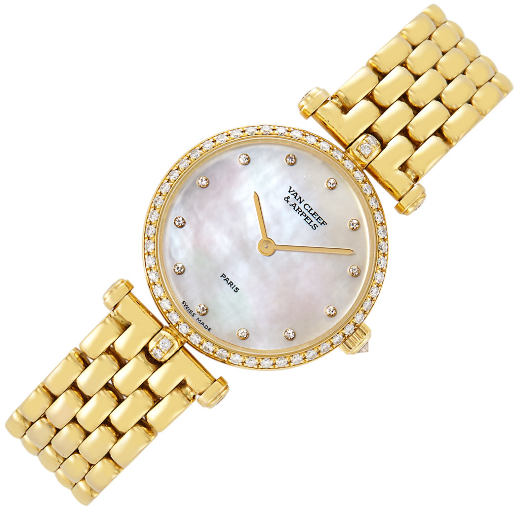 Lot image - Gold, Mother-of-Pearl and Diamond Wristwatch, Van Cleef & Arpels
