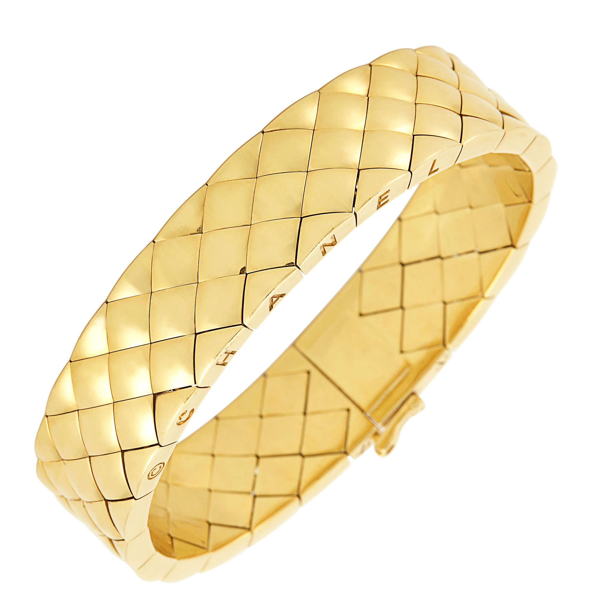 Lot image - Gold Matelasse Quilted Bracelet, Chanel, France