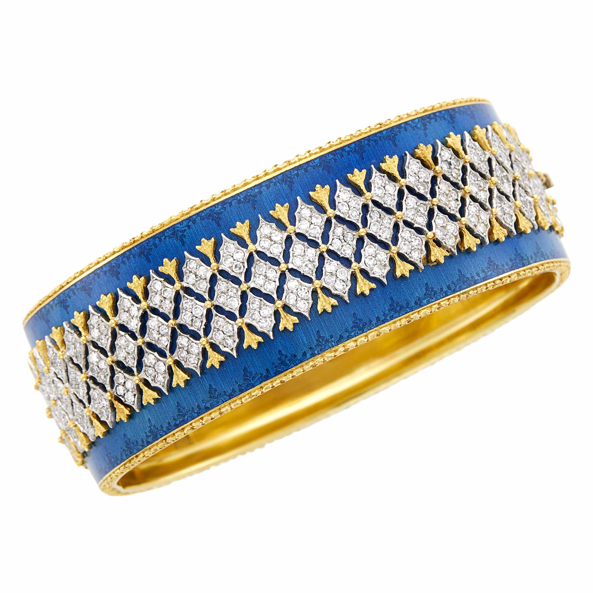 Lot image - Gianmaria Buccellati Two-Color Gold, Diamond and Blue Enamel Cuff Bangle Bracelet