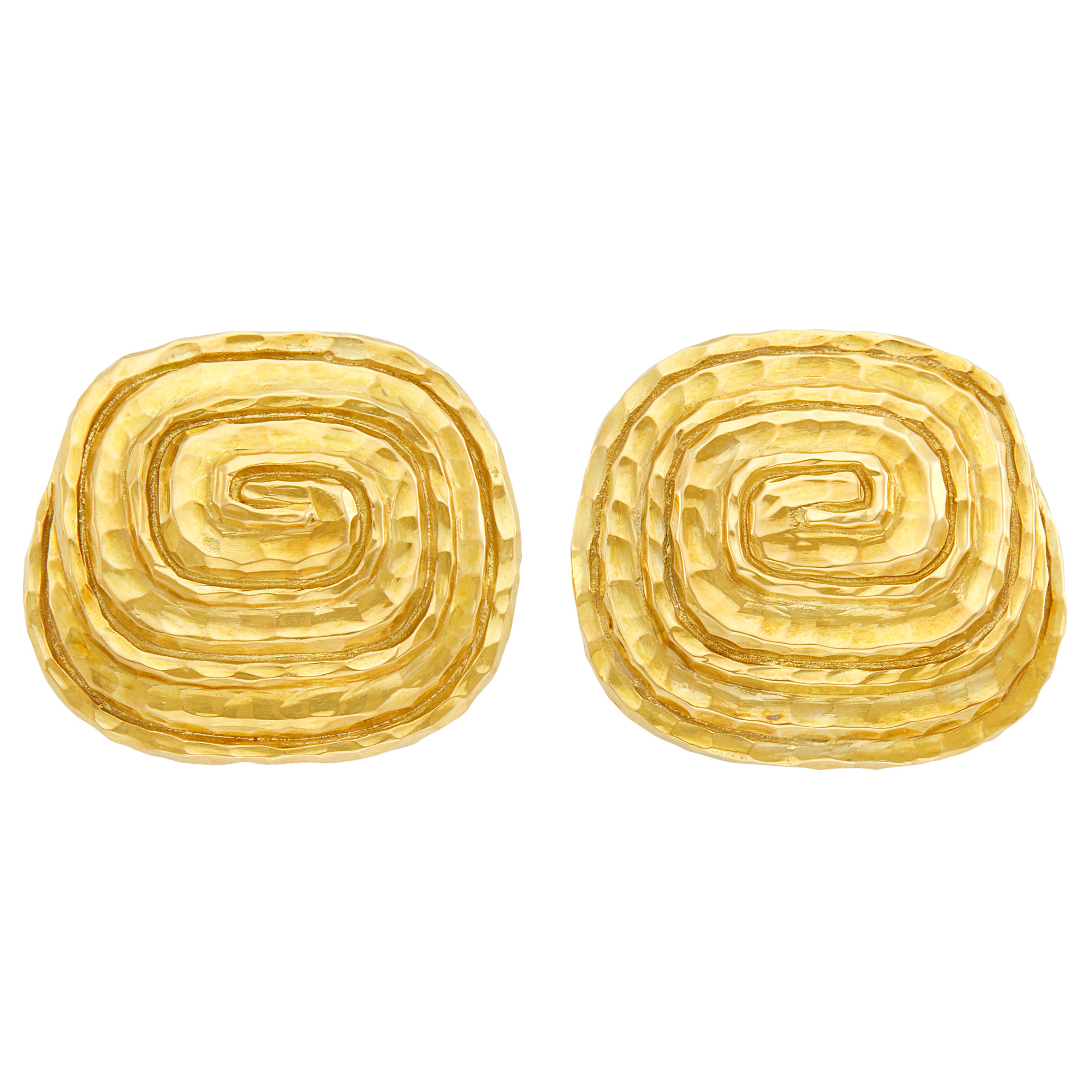 Lot image - Pair of Hammered Gold Earclips, David Webb