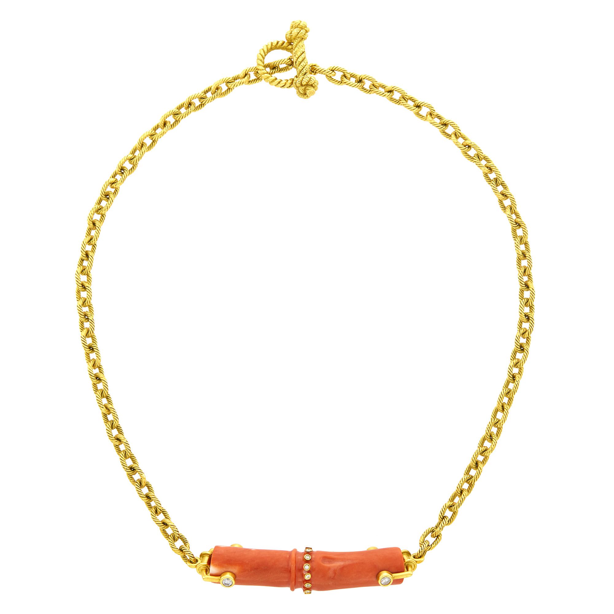 Lot image - Mish Gold, Coral and Diamond Chain Necklace
