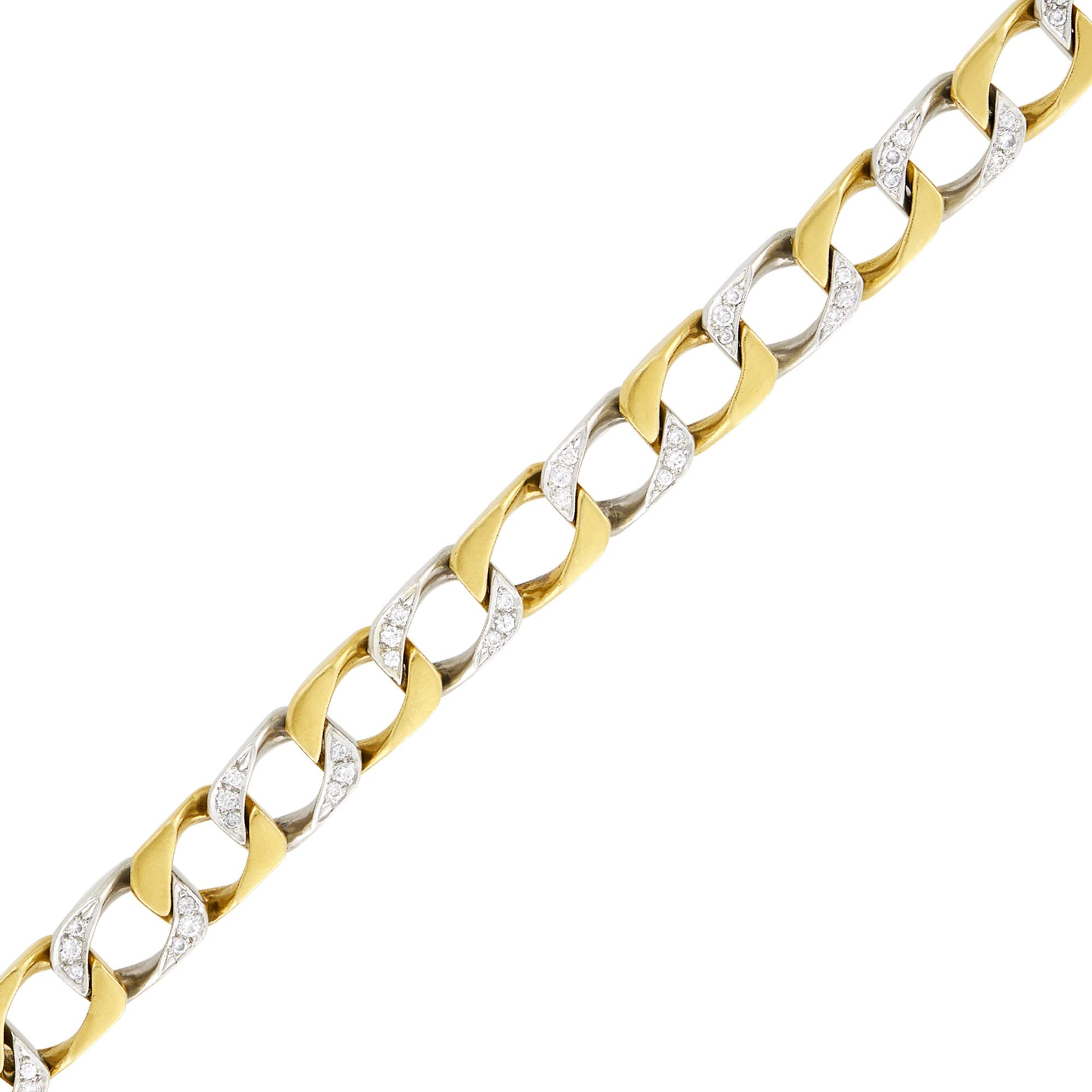 Lot image - Cartier Two-Color Gold and Diamond Curb Link Bracelet