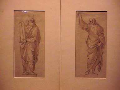 Lot image - Italian School 17th Century CHRIST and MOSES: PAIR