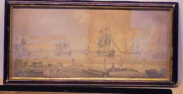 Lot image - Dominic Serres British, 1722 - 1793 SHIPPING AT PORTSMOUTH