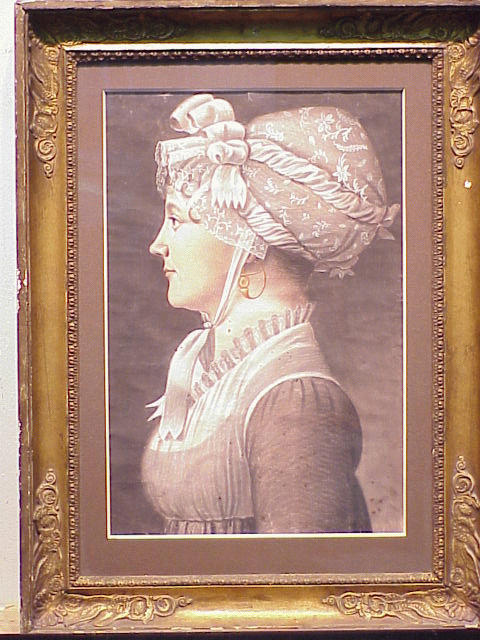 Lot image - French School Circa 1800 PORTRAIT OF A WOMAN IN PROFILE WITH GOLD EARRING