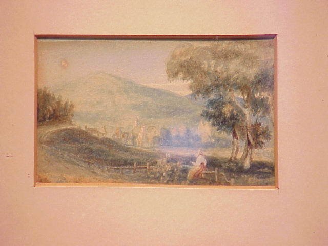 Lot image - Dutch School 18th Century LANDSCAPE WITH WOMAN ON A FENCE WITH TOWN IN THE DISTANCE