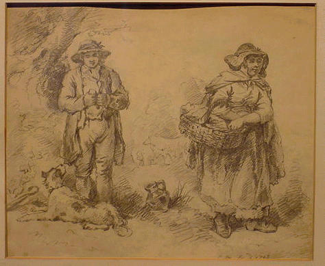 Lot image - George Morland British, 1763 - 1804 MAN AND WOMAN WITH DOG