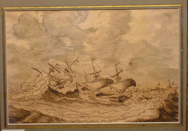 Lot image - Circle of Ludolf Backhuisen SHIPS IN ROUGH SEAS