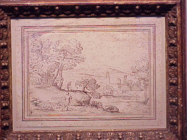Lot image - Giovanni Francesco Grimaldi, called il Bolognese Italian, 1606 - 1680 FIGURES IN A LANDSCAPE Pen and brown ink on paper 7 7/8 x 11 1/2