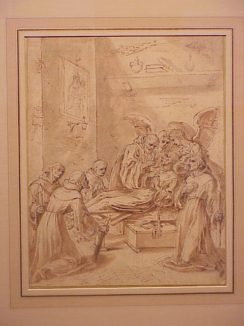 Lot image - Attributed to Lazzaro Baldi Italian, 1624 - 1703 LAST COMMUNION OF A SAINT