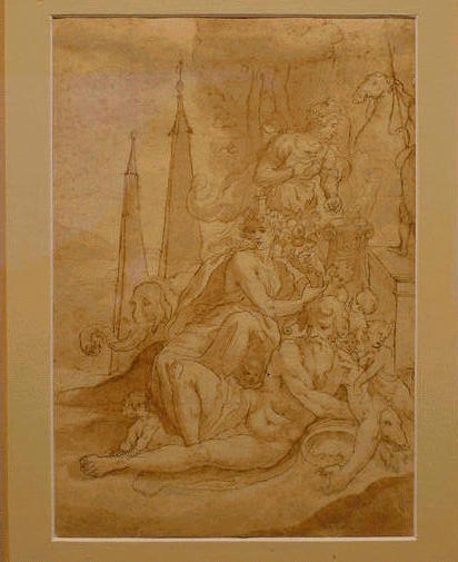 Lot image - Italian School 16th Century ALLEGORY OF ONE OF THE FOUR CONTINENTS: AFRICA