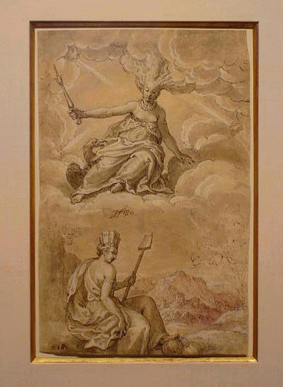 Lot image - German School 17th Century ALLEGORICAL SCENE DEPICTING JUNO AND FORTUNA OVERLOOKING A TOWN