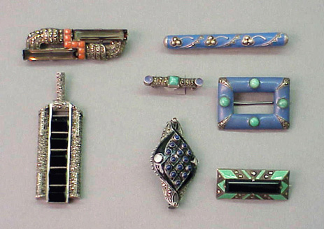 Lot image - Group of Sterling Silver and Enamel Pins