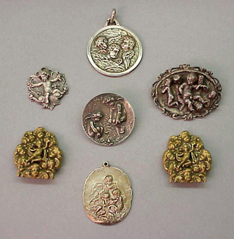 Lot image - Group of Seven Antique Angel Medallions