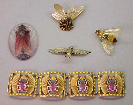 Lot image - Group of Art Nouveau Insect Jewelry