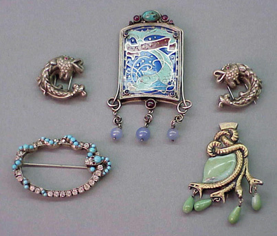 Lot image - Group of Five Antique Serpent Theme Pins