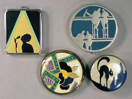 Lot image - Group of Four Art Deco Pictorial Compacts