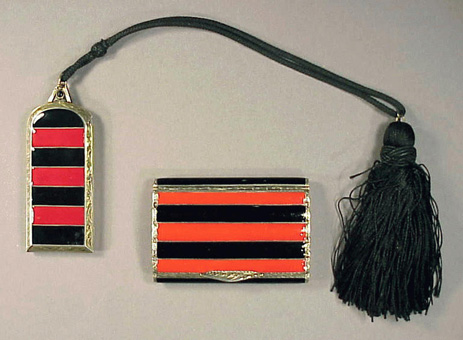Lot image - Black and Red Art Deco Vanity Set