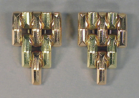 Lot image - Pair of 14 Kt. Gold  Clips