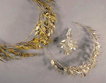 Lot image - Two Sterling and Gilt-Silver Laurel Wreath Crowns Early 20th century