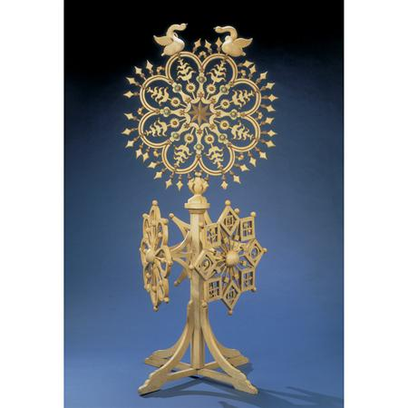 Lot image - Carved and Painted Wood Snowflake on Stand