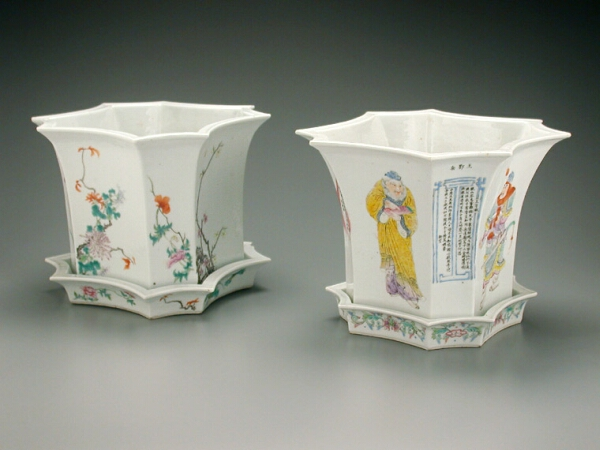 Lot image - COMPANION PAIR OF CHINESE FAMILLE ROSE PORCELAIN OCTAGONAL TRUMPET-FORM PLANTERS AND STANDS  Four-Character Yongzheng Mark on one, 19th