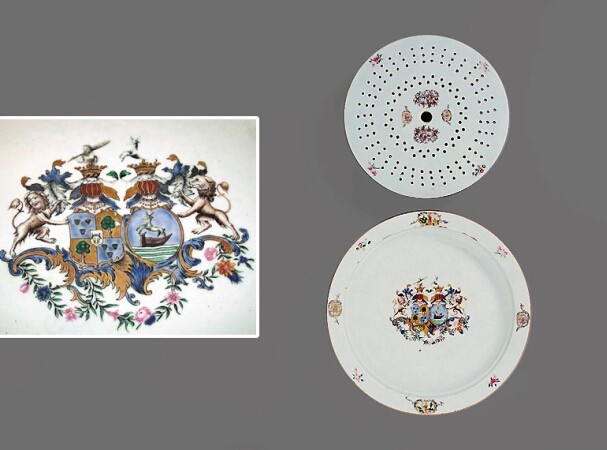 Lot image - CHINESE EXPORT PORCELAIN MARRIAGE ARMORIAL CIRCULAR PLATTER AND MAZARINE WITH THE ARMS OF ARNOLDUS ADRIANUS VAN TETS AND WILHELMINA...