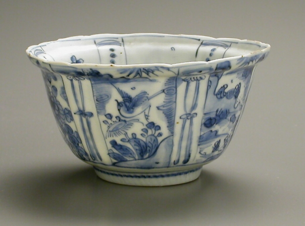 Lot image - CHINESE EXPORT BLUE AND WHITE KRAAK PORCELAIN BOWL  Second half of the 16th century  Diameter 5 5/8 inches (14.3 cm)