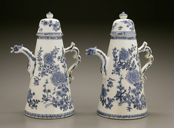 Lot image - PAIR OF CHINESE EXPORT BLUE AND WHITE PORCELAIN LIGHTHOUSE-FORM COFFEE POTS AND COVERS  Qianlong Period, circa 1740-1760  Height 11 1/8