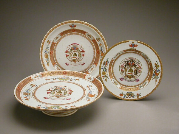 Lot image - CHINESE EXPORT PORCELAIN ARMORIAL TAZZA, PLATE AND SMALL PLATE WITH THE ARMS OF SIR JOHN LAMBERT  Circa 1722  Diameters 12 1/8, 10 1/2,