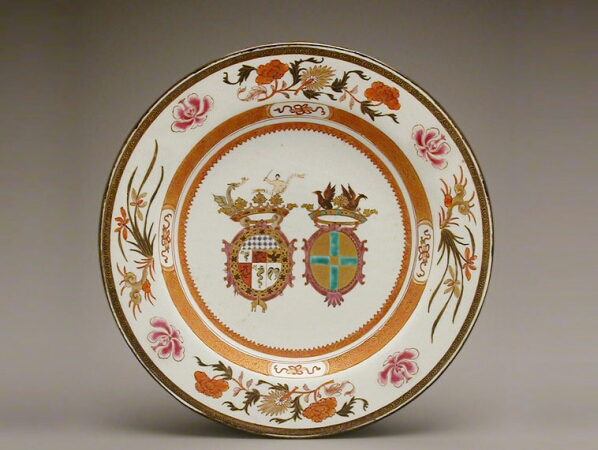 Lot image - CHINESE EXPORT ENAMELED PORCELAIN DISH FOR THE ITALIAN MARKET WITH THE ARMS OF VISCONTI AND CUSANI  Circa 1722  Diameter 12 1/4 inches
