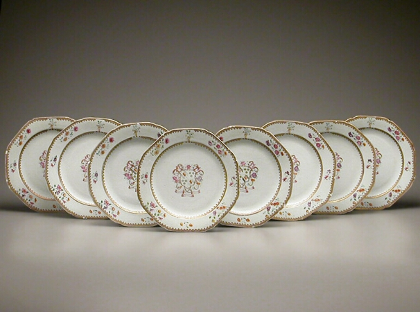 Lot image - SET OF EIGHT CHINESE EXPORT FAMILLE ROSE PORCELAIN ARMORIAL PLATES WITH THE ARMS OF RODES QUARTERING HEATHCOTE FOR GILBERT HEATHCOTE (R